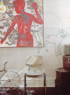 Painting on wall  Love the painting directly on the wall under the other painting. Artist - David Bromley. Australian Vogue Living.