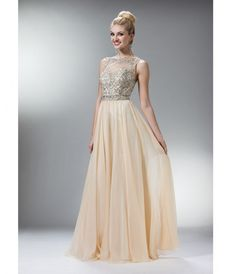 Prom Dresses Champagne Chiffon Stone Criss Cross Gown