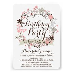 Pink Winter Floral Wreath Birthday Invitation