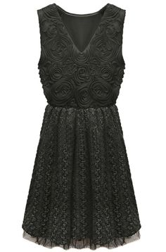 Black V Neck Sleeveless Embroidery Lace Dress