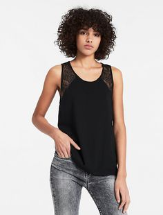 Image for lace-trimmed tank top from Calvin Klein