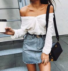 82745881d9 Classic white shirt with a twist! Off the shoulder Front buttons Long  sleeves Casual chic
