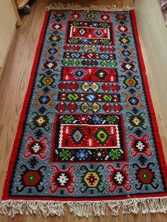 Bright Kilim Rugs Antique Balkan Decor Geometric Figure Pirot