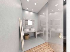 Wooden carved mirror and bamboo ladder decorate beautifully this bathroom www.fenalie.gr