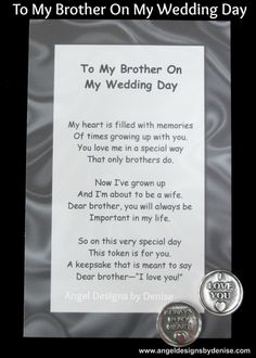 Surprise Wedding Gift For Brother : ... Pinterest Brother, Quotes About Brothers and Sister In Law Birthday