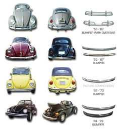 Bumpers - Volkswagen Beetle Bumpers through the years. Volkswagen Karmann Ghia, Auto Volkswagen, Vw T1, Vw Super Beetle, Beetle Car, Vw Bugs, Vw Modelle, Vw Cabrio, Kdf Wagen