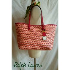 Ralph Lauren Summer Tote Pink and Orange Beautiful purse .  Super roomy!  Add a little color to your wardrobe! Ralph Lauren Bags Totes