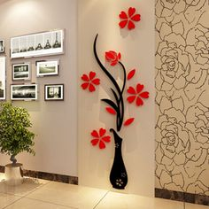 Flower Decal Vinyl Decor Art Home Room Removable Mural Wall Stickers DIY new. for sale online Wall Stickers Tv, Flower Wall Stickers, Wall Stickers Home Decor, Wall Decals, 3d Wall, Wall Tv, Mural Wall, Wallpaper Stickers, Kids Stickers