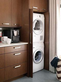 Love the idea of hiding the stackable washer and dryer with cabinetry especially if your laundry room is in your kitchen. Laundry In Kitchen, Laundry Closet, Laundry In Bathroom, Kitchen Redo, Kitchen Remodel, Kitchen Design, Laundry Rooms, Laundry Area, Laundry Cupboard