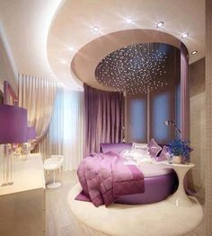 Bedroom with star lights over the bed...