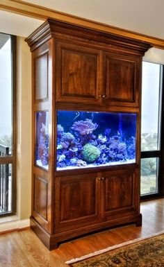 Idea for aquarium. I want my aquarium to be built in to look like furniture. Well made walnut cabinet for a very large salt water aquarium. Saltwater Aquarium Setup, Saltwater Fish Tanks, Aquarium Stand, Home Aquarium, Aquarium Design, Marine Aquarium, Aquarium Fish Tank, Aquarium Ideas, Aquarium Cabinet