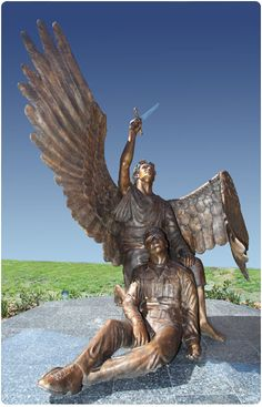 St. Michael, patron saint of police officers, outside the Odessa, Texas police station