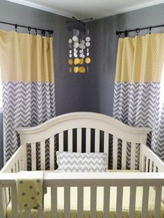 smoke gray and yellow circles babies nursery love these curtains