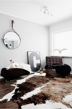 barcelona chair living room cowhide