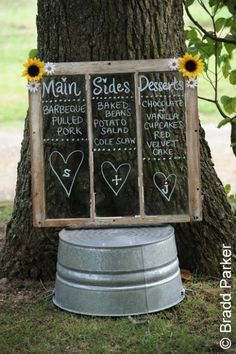 Take a look at the best small backyard wedding in the photos below and get ideas for your wedding! I'm totally not having a small wedding or an outdoor wedding, but this is beautiful. Rustic Wedding Signs, Chalkboard Wedding, Chalkboard Signs, Woodland Wedding, Chalkboard Window, Chalkboard Paint, Rustic Signs, Perfect Wedding, Dream Wedding