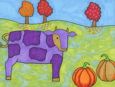 Fall is definitely here - the leaves are turning red and orange, and we've all been seeing a lot of pumpkins around the neighborhood. Drawing Projects, Art Projects, Cow Art, Fall Harvest, Hot Air Balloon, Colored Pencils, Scooby Doo, Art For Kids, Art Ideas