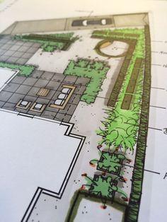 Tuinontwerp strakke tuin bij vrijstaande woning | ontwerp by Buro Buitenom exterieurontwerpers
