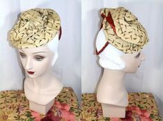 Vintage 30s/40s Two Layer Gold Turban on Draped Tam Tilt Hat