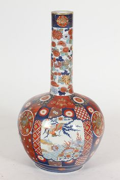 JAPANESE IMARI PORCELAIN VASE, Showa Period. Floral decoration - 30 in. high.