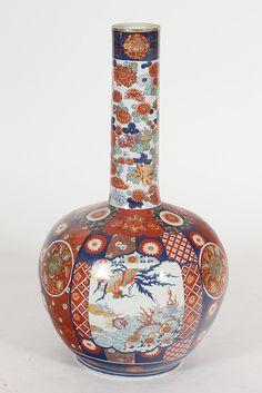 JAPANESE IMARI PORCELAIN VASE, Showa Period. Floral decoration - 30 in. high.