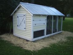 covered run - very shed-like.  Could be turned into a dog kennel or a greenhouse if we get out of the chicken business....