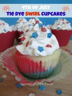 4th of July Tie Dye Swirl Cupcakes on creativefunfood.com