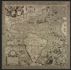 Diego Gutiérrez, Spanish & Hieronymous Cock, Dutch / 16th century map The Americas, or A New and Precise Description of the Fourth Part of the World or Americae sive quartae orbis partis nova et exactissima description, 1562, Antwerp ... six-paneled engraved map of the New World (South America, east coast of North America)w/ images of sea monsters and exotic wildlife