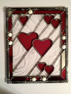 Heart stained glass panel