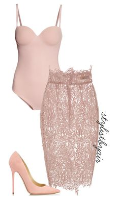 "We love our ""Gettin Some Body"" bodysuit in nude being styled with this skirt! Shop alyannaclothing.com"