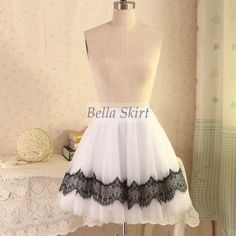 white tulle skirts for women with black lace , tulle wedding skirt