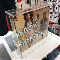 Though clear acrylic, Tommy Hilfiger Back-to-School Shadowbox was the best descriptor for this table-top sign outfitting. Back To School List, School Store, Store Fixtures, Pos, Visual Merchandising, Three Dimensional, Shadow Box, Clear Acrylic, Tommy Hilfiger