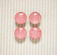 Glitter Soft Pink Glass Magnets // Kitchen Magnet, Office Deco, Glitter Magnet, Fridge Magnet, 1'' Magnet, Set of Four Magnets, Glass Magnet de la boutique SomniumBoutique sur Etsy