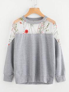 Embroidery Mesh Paneled Marled Sweatshirt