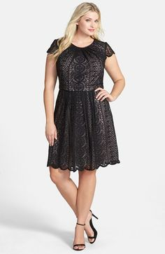 Adrianna Papell Pleat Filigree Lace Fit & Flare Dress (Plus Size) available at #Nordstrom