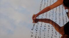 Sky Mantra, Performance installation,Mirror and black ink, 2008 Charwei Tsai