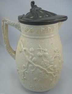 Antique Jug: Relief Moulded Bird & Blossom c 1860?