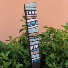 totem garden sculpture made from ceramic by TORIART on Etsy