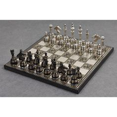 "SOVIET INSPIRED BRASS METAL LUXURY CHESS PIECES & BOARD SET- 14"" - UNIQUE ART Our Soviet Inspired chess set draws inspiration from the unique profiling of soviet chess pieces. The chessmen have broad bases and a very slim body making them visually attractive."