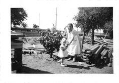 Black and White Vintage Snapshot Photograph Grandma Girl Garden Yard 1940'S | eBay