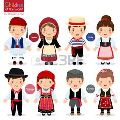 Illustration of Kids in different traditional costumes (Greece, Italy, Portugal, Serbia) vector art, clipart and stock vectors. Fantasias Country, Country Costumes, Around The World Theme, World Thinking Day, Drawing For Kids, Paper Dolls, Vector Free, Kids Vector, Activities For Kids