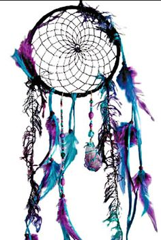 Amethyst Crystal Duotone Peacock Dreamcatcher