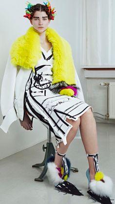 Edda Gimnes I love you Funny Fashion, New Fashion, Fashion Art, Womens Fashion, Fashion Design, Whimsical Fashion, Fashion Project, Mellow Yellow, Fashion Details