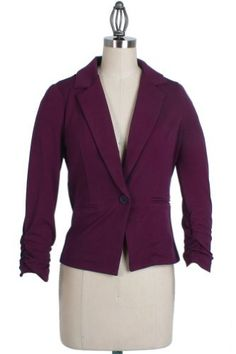 Timing Light Blazer with Scrunched Wrists in Purple, Small Timing. $16.00