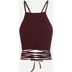 Wine Red Criss Cross Cami Top (€5,58) ❤ liked on Polyvore featuring tops, red top, cami tank, brown camisole, brown tank top and camisole tank top