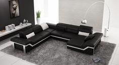 Canapé d'angle design en cuir Marco