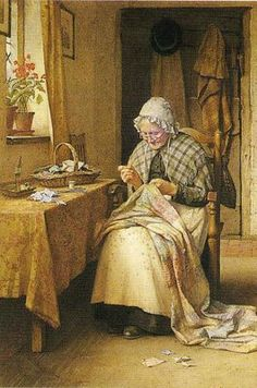 It's About Time: Older Women Sewing Charles Edward Wilson (British painter, Making a Patchwork Quilt Images Vintage, Vintage Pictures, Vintage Artwork, Paintings I Love, Beautiful Paintings, Illustration Art, Illustrations, Sewing Art, Oeuvre D'art