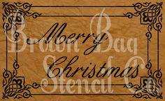 French Stencil  Merry Christmas  12x20   by BrownBagStencilCo