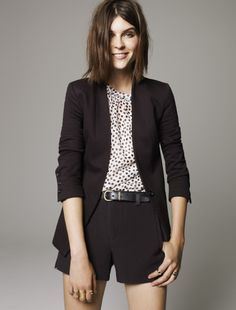 Madewell Tuxedo shorts worn with Modern Blazer + Shirred Top in stamp dot.