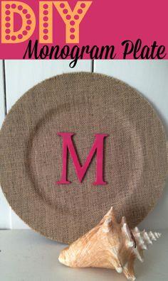 DIY Burlap Monogram Initial Plate Mothers Day Craft ~ Easy to Make!