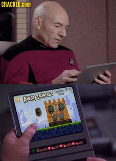 Star Trek's Captain Picard plays Angry Tribbles! Firing them at the Gorn! Ha. See more Star Trek and other humor pins on Chuck's Stuff's 'Fun Stuff' board. #startrek